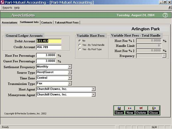 Software Screenshot - Associations Settlement Info